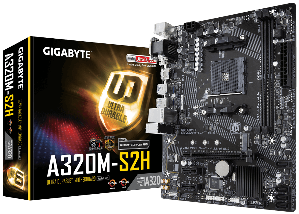 MAINBOARD GIGABYTE GA-A320M-S2H SOCKET AM4 AMD