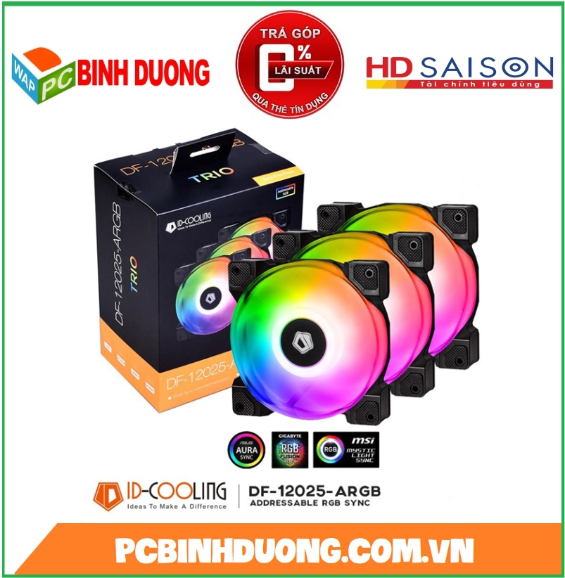 Fan Case ID Cooling DF-12025-ARGB TRIO 3pcs Pack