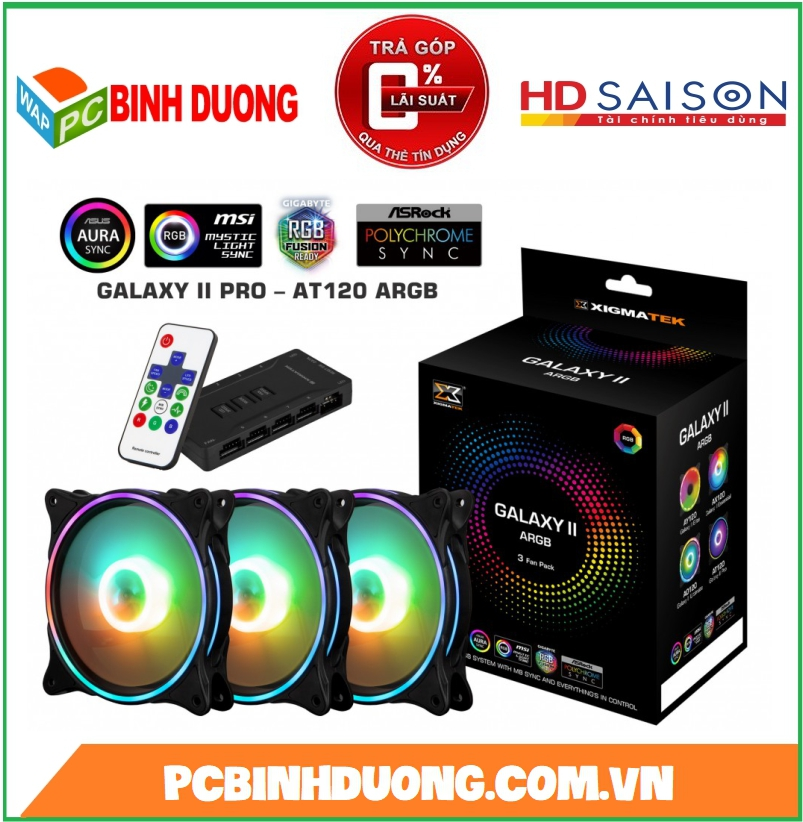BỘ QUẠT XIGMATEK GALAXY II PRO-AY120 ARGB ( EN42128 ) LED RGB ( KIT 3 FAN )