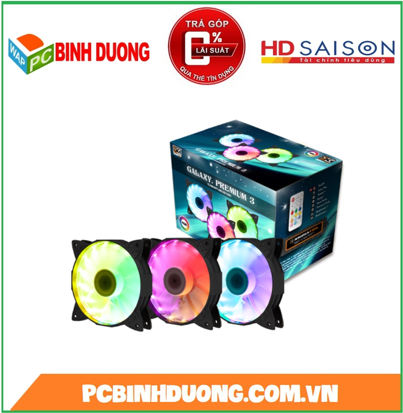 BỘ QUẠT XIGMATEK GALAXY PREMIUM RAINBOW LED RGB ( KIT 3 FAN )