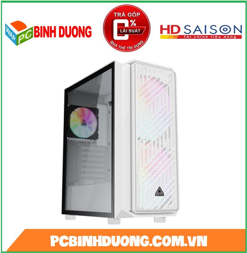 Case Montech Air X White ( Tặng kèm 3 Fan RGB )