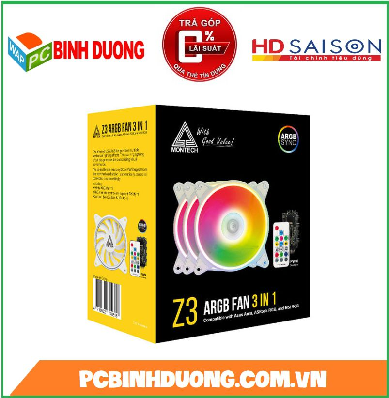 Bộ quạt Montech Z3 ARGB Led RGB ( Kit 3 Fan )