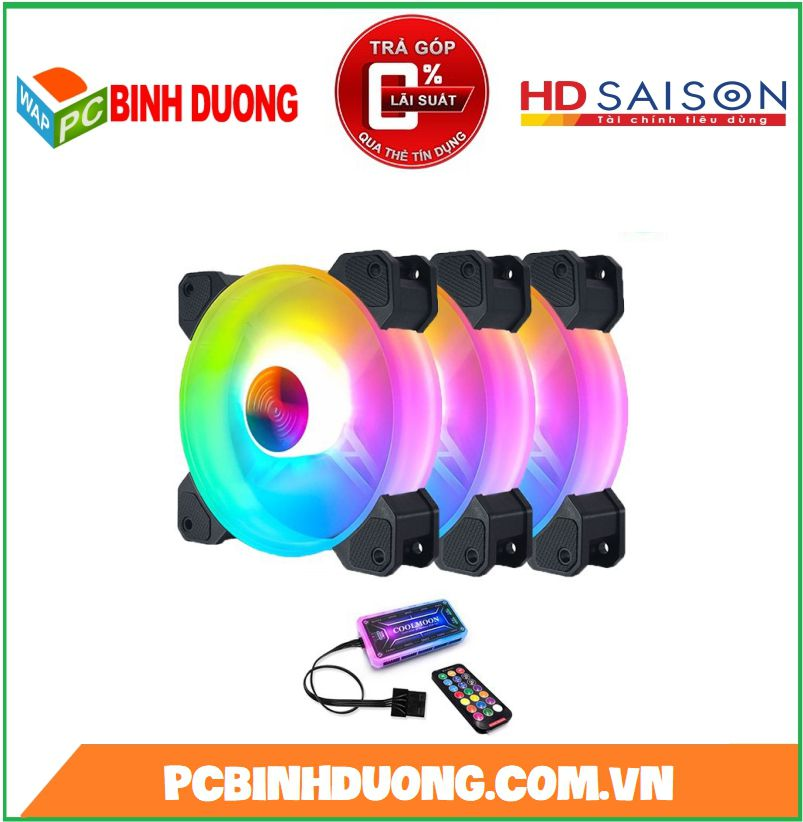 Bộ quạt Coolmoon Y1 Led RGB ( Kit 3 Fan )